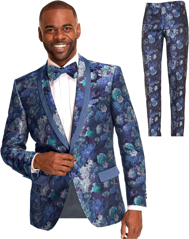 Men's Slim Fit Floral Skinny Tuxedo Formal Suit, Blazer Jacket Bow Tie for Wedding, Prom, Navy Blue Size 42L 42 Long L Large Pant Size 36