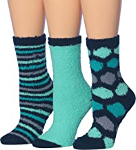 Tipi Toe Women's 3-Pairs Cozy Microfiber Anti-Skid Soft Fuzzy Crew Socks