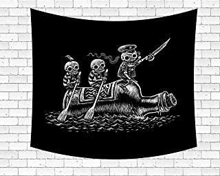 Wamika Funny Pirate Skull Tapestry Wall Art Skeletons Sea Voyage Sailors Tapestry Wall Hanging Home Decor Tapestries for Dorm Living Room Bedroom Hippie Bohemian Tapestry Black and White 60