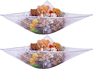 Jumbo Toy Hammock -2PACK- Organize stuffed animals or children's toys with this mesh hammock. Looks great with any décor while neatly organizing kid's toys and stuffed animals. Expands to 5.5 feet.