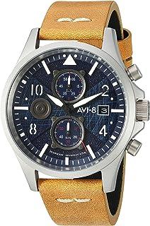 AVI-8 Men's AV-4068 Hawker Hurricane Bulman Edition, Quartz Stainless Steel and Leather Aviator Watch