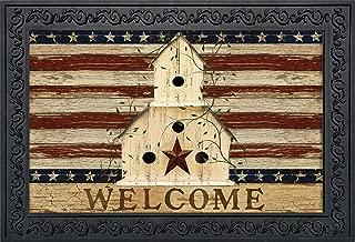 Briarwood Lane Americana Welcome Doormat Patriotic Primitive Birdhouse Indoor Outdoor 18