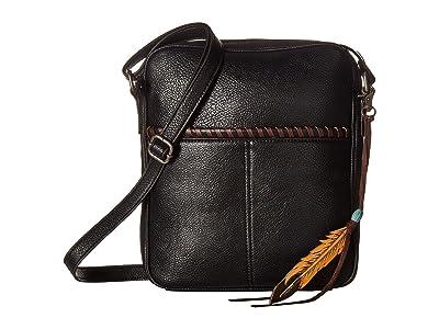 M&F Western Tegan Conceal Carry Crossbody (Black/Tan) Cross Body Handbags