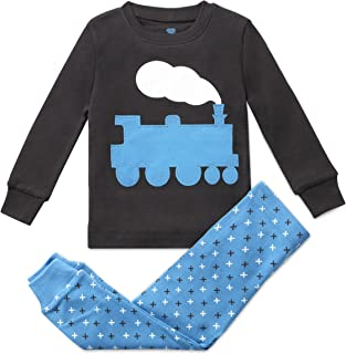 Image of Charcoal Gray and Blue Cotton Train Pajama Set for Toddler Boys and Infants