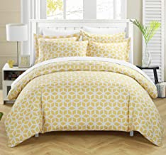 Chic Home Elizabeth 3 Piece Reversible Duvet Cover Set Geometric Diamond Print Design Bedding, King, Yellow
