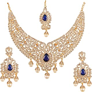 NEW! Touchstone Indian Bollywood Desire Legendary Style Old Diamond Look Faux Blue Sapphire Grand Designer Bridal Jewelry Necklace Set In Antique Gold Tone For Women