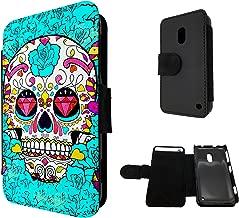 Nokia Lumia 620 Full Face Sugar Skull Skulls Multi tattoo Diamond eye Design Book Style Purse Full Case Flip cover Defender Credit Card Holder Pouch Case Cover Book Wallet TPU Leather