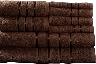 Lavish Home 8-Piece 100-Percent Egyptian Cotton Plush Bath Towel Set Chocolate