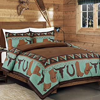 WPM 3 Piece Western Cabin Lodge Comforter Set Brown/Teal Horseshoe, Horse, Barb Wired Cow Boy Hat Boot Print Southwestern ...