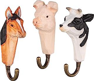 Pferd Kuh und Schwein mit Metallhaken handgearbeitet 12 cm 3 Wandhaken Garderobehaken Kleiderhaken aus Holz Bauernhoftiere