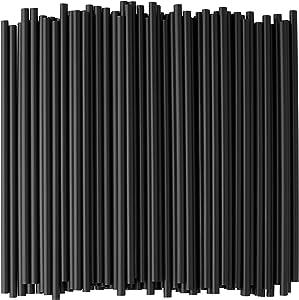 Crystalware, Black Plastic Straws, 7 3/4 Inches, Jumbo Pack 250 Straws