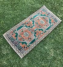 Vintage Handmade Turkish Oushak Rug, Decorative Area Rug, Low Pile Mat Rug, Small Oushak Rug, Persian Rug, 1'10
