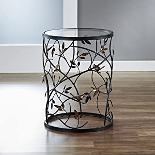 FirsTime & Co. Antique Large Bird and Branches Side Glass Tabletop Accent Table, 22