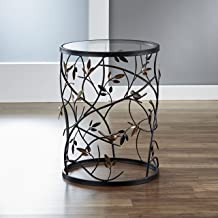 FirsTime & Co. Antique Large Bird and Branches Side Glass Tabletop Accent Table, 22H x 16.5W x 16.5D, Aged Bronze