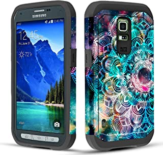 Townshop Galaxy S5 Active Case, Dual Layer Shockproof Hybrid Case for Samsung Galaxy S5 Active G870A - Mandala in Galaxy