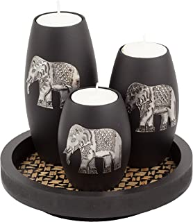 IYARA CRAFT Tealight Candle Holders with Candle Tray Set of 3 Decorative Candle Holders..
