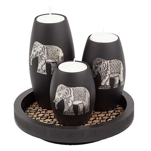 Amazing IYARA CRAFTu0027s 3 Wooden Candle Holders With Candle Tray U2013 Decorative Candle  Holders With Inlaid Aluminium