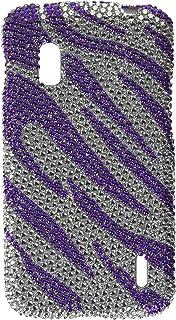 Eagle Cell PDLGE960S326 RingBling Brilliant Diamond Case for LG Nexus 4 E960 - Retail Packaging - Purple Zebra