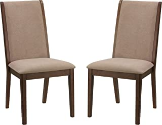 Cortesi Home Kendall Dining Side Chairs in Walnut Color Set of 2 Truffle Taupe Fabric