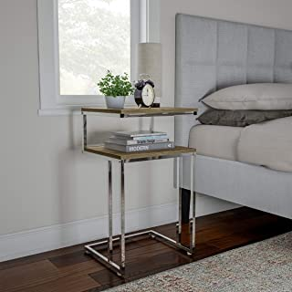 Two-Tier End Table- C Shaped Sofa Side Table with Two Shelves, Contemporary Style Chrome Metal Stand for Living Room or Bedroom by Lavish Home (Gray)