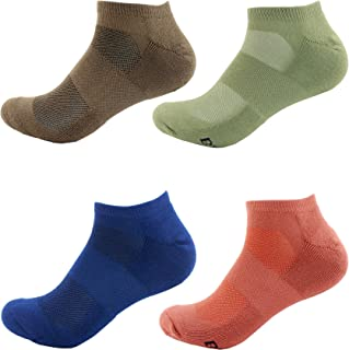 Men's Rayon from Bamboo Fiber Colored Sports Superior Wicking Athletic Ankle Socks - 4 Pair Value Pack