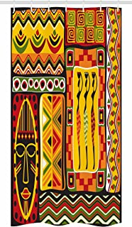 Ambesonne African Stall Shower Curtain, African Elements Decorative Historical Original Striped and Rectangle Shapes Artsy, Fabric Bathroom Decor Set with Hooks, 36 W x 72 L inches, Multicolor