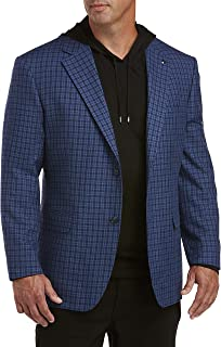 Oak Hill by DXL Big and Tall Tonal Small Check Sport Coat, Blue