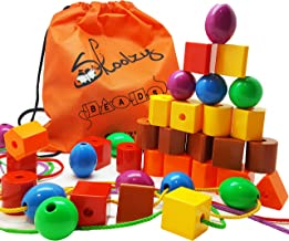 Skoolzy Lacing Beads for Kids Toddler Toy - JUMBO Primary Lacing Toys For Toddlers - Autism Fine Motor Skills Montessori Toys - 36 String Beads, 4 Strings, Travel Bag, Preschool Activities eBook Set