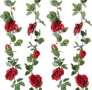 Felice Arts 2pcs 13 FT Fake Rose Vine Flowers Plants Artificial Flower Hanging Rose Ivy Home Hotel Office Wedding Party Garden Craft Art Decor (Red)
