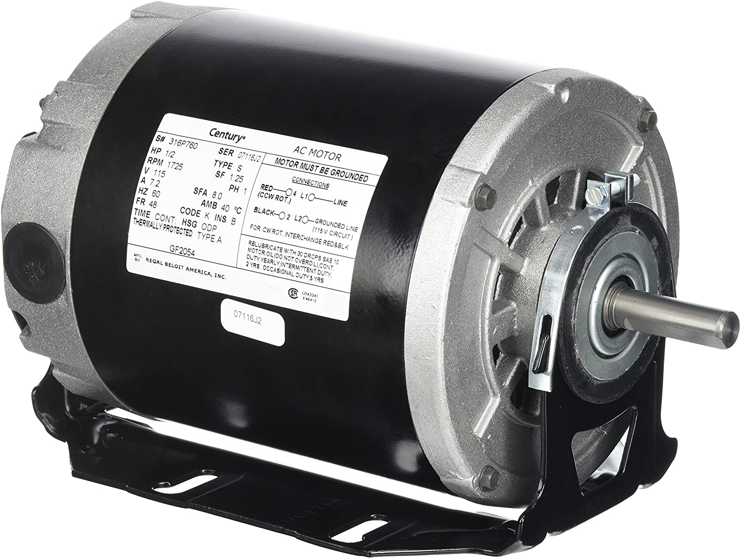 Century formerly AO Smith GF2054 1/2 hp, 1725 RPM, 115 volts, 48/56 Frame, ODP, Sleeve Bearing Belt Drive Blower Motor: Electric Fan Motors: Tools & Home Improvement