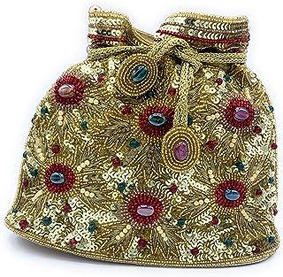 WOMEN'S DESIGNER ELEGANT ROYAL HANDMADE POTLI BAG/HANDBAG/PURSE/CLUTCH BAG ADORA ACI 095 GOLD