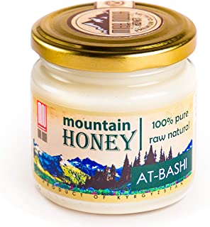 Raw White Honey (8.8 Ounce); Natural Organic Creamed Wildflower Mountain Honey from Central Asia – Unheated & Unfiltered - Contains Natural Enzymes, Pollen & Propolis – by Mira Nova