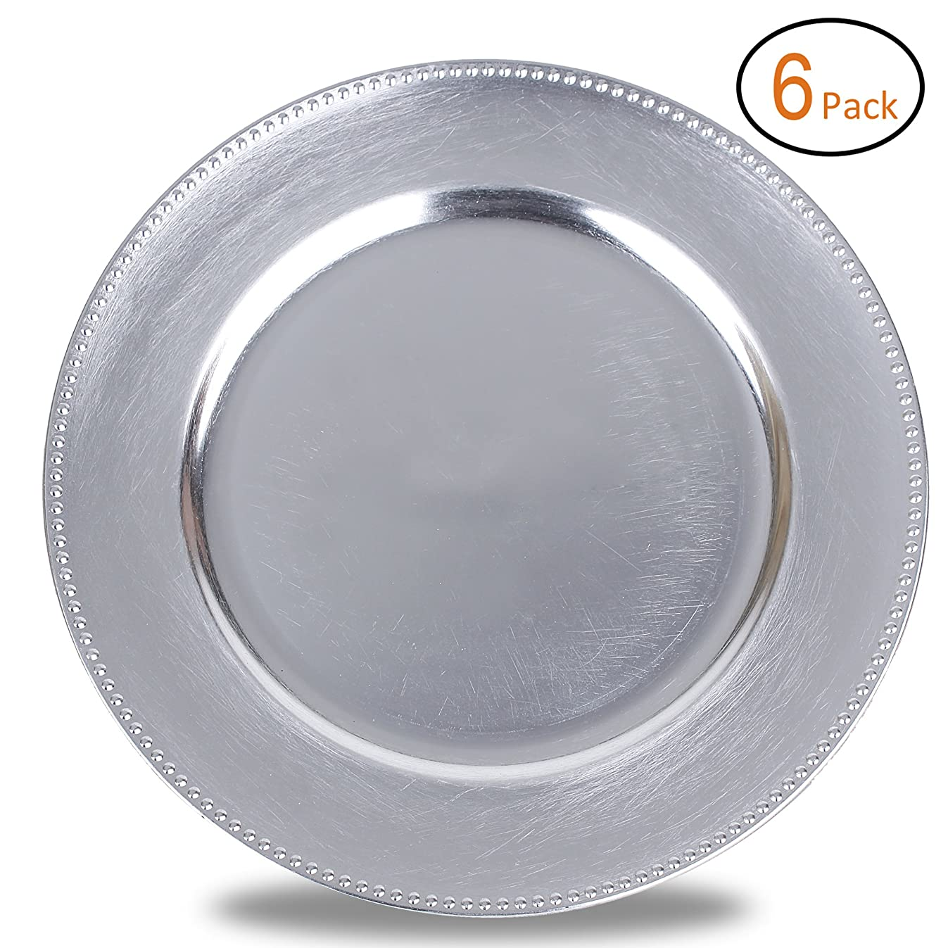 FANTASTIC :)  Round 13 Inch Plastic Charger Plates with Metallic Finish (6, Beaded Silver)
