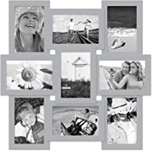 Malden International Designs 4x6 Puzzle Wall Collage Picture Frame, Gray