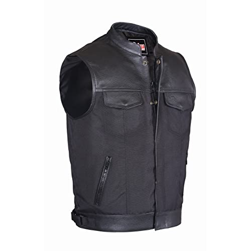 abefe979dd09 Lesa Collection MENS CODURA BIKER WAISTCOAT/VEST BLACK REAL LEATHER TRIM  (XL)