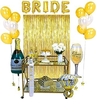 Swept Premium Gold Bachelorette Party Decorations   Bridal Shower Kit   Bride To Be Engagement Party Supplies and Wedding Shower Decorations   Gold Curtains, Bride Sash, Confetti Balloons, Photo Props