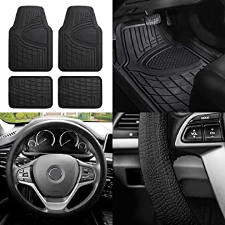 FH Group FH-F11311 Premium Tall Channel Rubber Floor Mats w. FH3001 Snake Pattern Silicone Steering Wheel Cover, Solid Black Color