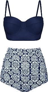 Newbely Women Vintage Polka Dot High Waisted Bikini Underwire Swimsuit Two Piece