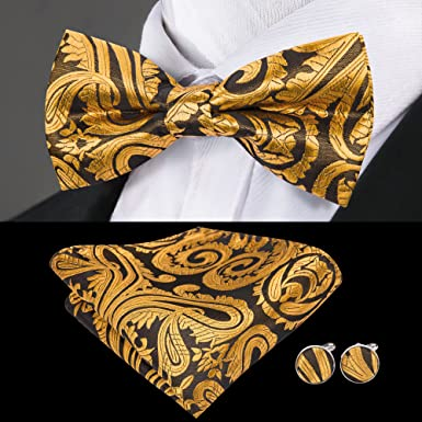 Barry.Wang Lazos de flores para hombres conjunto de corbata de seda con pa/ñuelo gemelos boda negocios