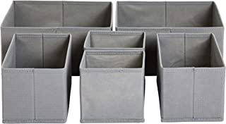AmazonBasics Cloth Drawer Storage Organizer Boxes, Set of 6