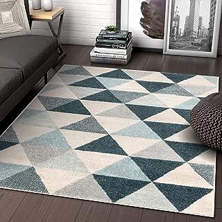Well Woven Isometric Geometric Dark Blue Triangle Area Rug 3x5 (3'11