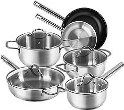 Karcher Jovita pannenset van roestvrij staal, kookgerei inductiekookpannenset, potten met glazen deksel/pan/steelpan, 10-d...