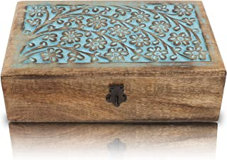 Great Birthday Gift Ideas Handmade Decorative Wooden Jewelry Box With Lock & Key Jewelry Organizer Keepsake Box Treasure C...