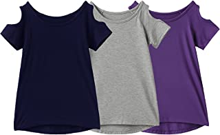 IRELIA 3 Pack Girls Crew Neck Tee Short Sleeve Shirts with Cold Shoulder
