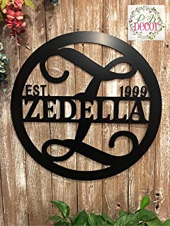 Split Letter Z Monogram Metal ACM Sign Personalized Last Name Z Door Hanger Initial Z Wreath 24 in