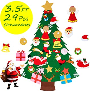 COCOMOON 3.5FT Felt Christmas Tree for Kids - 29 Pcs Ornaments Wall Decor with Hanging Rope for Toddlers Xmas Gifts Home Door Decoration