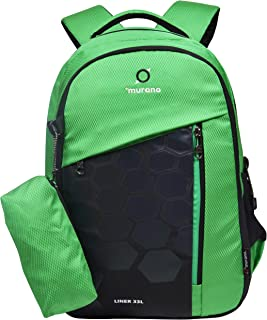 Murano Liner Casual Backpack with 3 Compartment and Polyester Water Resistance 33 Ltr Backpack- Green