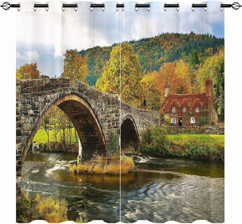 ANHOPE Bridge High order Blackout cheap Curtains - Autumn Landscape Nature