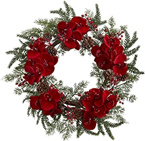 Nearly Natural Orchid, Berry & Pine Holiday Wreath, ...