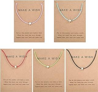 5Pcs Friendship Bracelet Set with Message Card Make a Wish Adjustable Bracelet Star Heart Handmade Bracelet Simple Fashion Women Jewelry Gifts